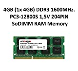 unimega 4GB (1x 4GB) DDR3 1600MHz PC3-12800S 204PIN 1,5V SoDIMM Memoria Notebook Laptop RAM Memory