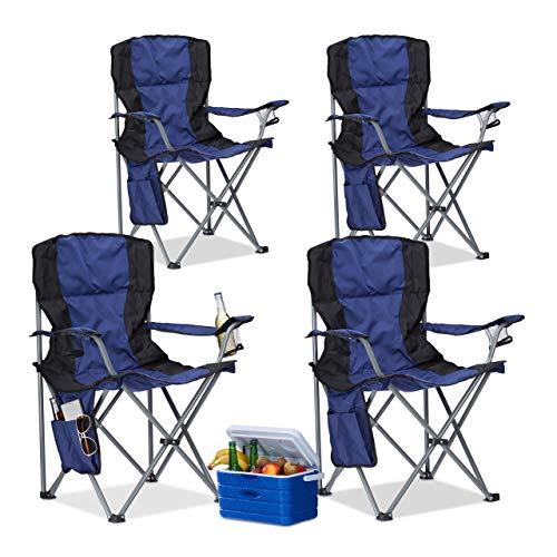Relaxdays Pack de 4 Sillas Plegables Camping con Reposabrazos y Soporte para Bebidas, Poliéster, Azul y Negro, 93 x 77 x 52 cm