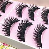 PIXNOR 5 Pairs Handmade Long Cross False Eyelashes Makeup Natural Thick Black Eye Lashes