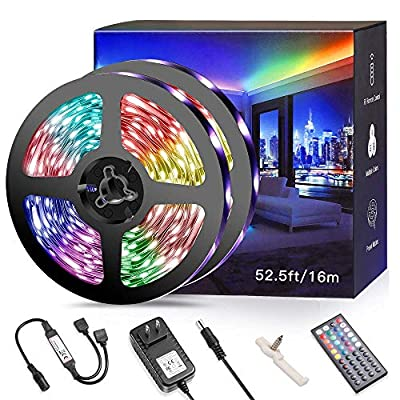 52.5ft RGB LED Strip Light Kits for Bedroom, Dimmable Color Changing LED Tape with 44Key RF Remote, Flexible 480 Premium 5050 LEDs LED Ribbon, Kitchen Bar Cabinet Home Lighting, UL Listed Power Supply
