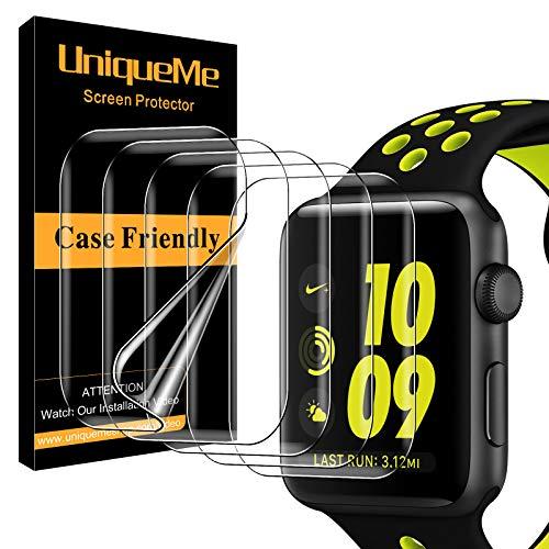 UniqueMe [5 Pack] Protector de Pantalla Compatible con Apple Watch 40mm Series 6 5 4  SE y Apple Watch Series 3 2 1 38mm,Sin Burbujas Funda Compatible Instalación Fácil HD Clear TPU Film Protector