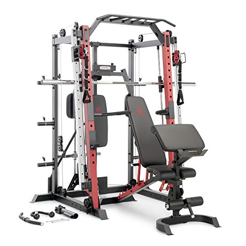 Marcy Smith Machine Cage System Home Gym Multifunction Rack, Customizable Training Station SM-4033, Red