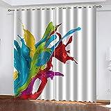 Agvvseso® 2 Paneles/Juego de Cortinas de Ventana 3D Patrón de Color Abstracto Impresión de Cortinas para Dormitorio Elegante Adorno de Hotel para el hogar Separadores de Habitaciones (W) 182x(H) 214
