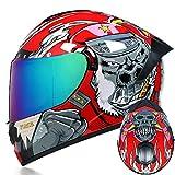 Dgtyui Casco integrale da corsa invernale caldo casco da moto bicolore casco sportivo completamente sfoderabile e lavabile - c6 XS