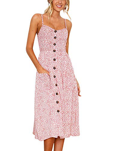SWQZVT Women's Dress Summer Spaghetti Strap Sundress Casual Floral Midi Backless Button Up Swing Dresses with Pockets Pink S