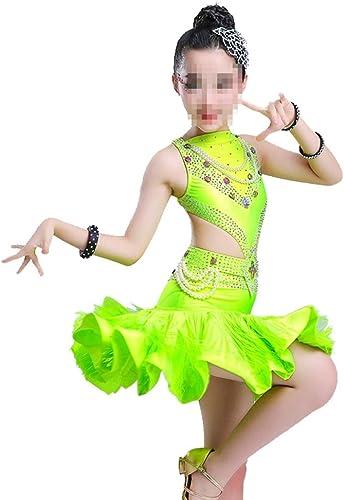 Asdflina Jupe Gland Sequin Costumes de Danse Latine pour Les Robes de Danse des Enfants Vêtements de Danse pour Occasions spéciales (Couleur   Vert, Taille   140cm)