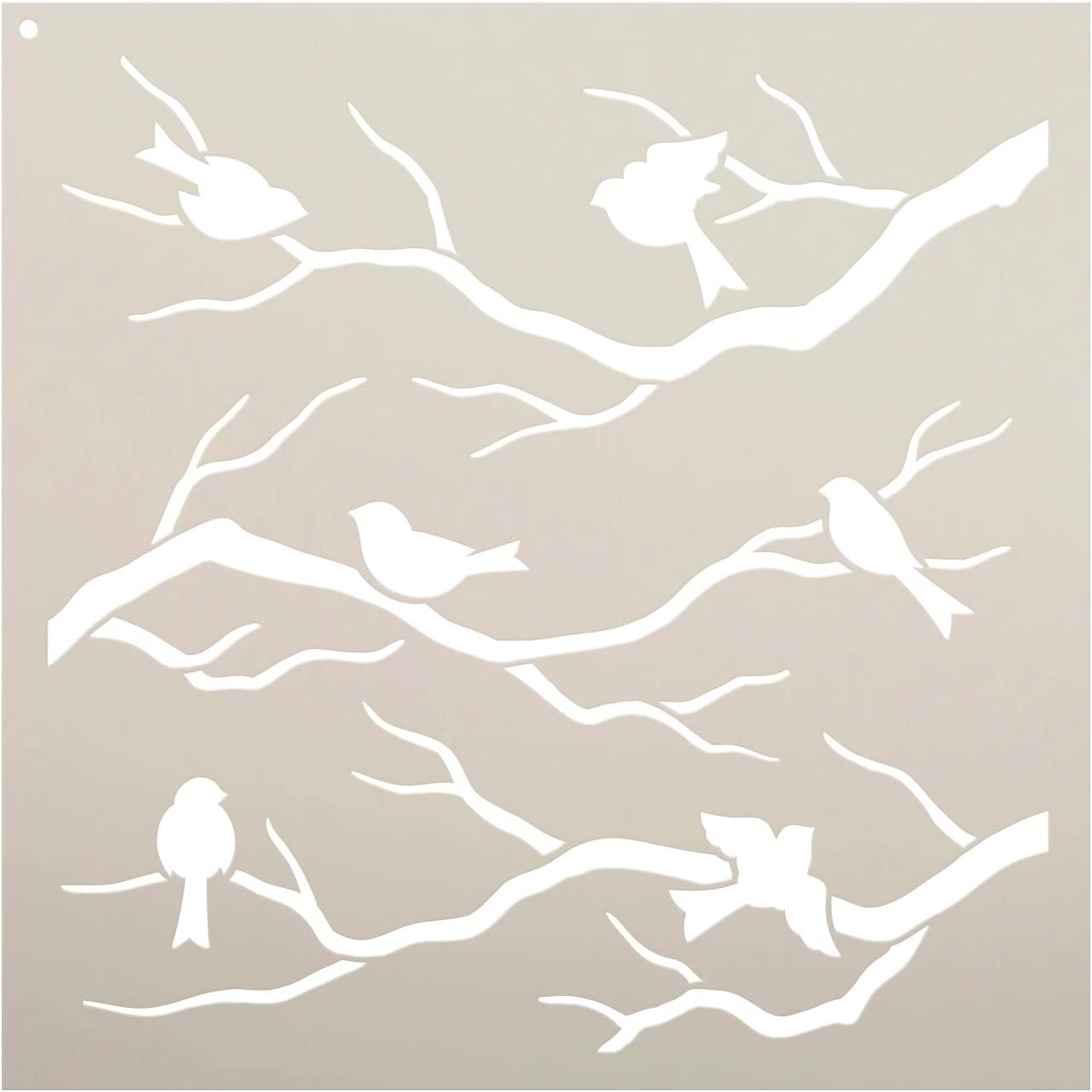 Birds & Branches Stencil by StudioR12 | Reusable Mylar Template | Crafters and Sign Makers can Paint DIY Nature Home Decor - Furniture - Scrapbook- Cards - Choose Size