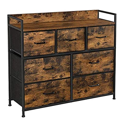 SONGMICS Drawer Dresser, Chest of Drawers, Closet Storage Dresser, 7 Fabric Drawers and Metal Frame with Handles, Rustic Brown and Black ULTS137B01
