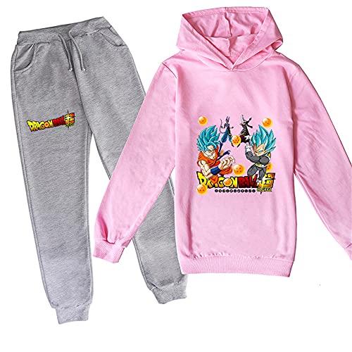 ZKDT Sudadera unisex con capucha y diseño de dragón y balón de fútbol para niñas y niños, de manga larga y pantalón de chándal 3 a 14 Diseño 3 XXXL