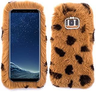 for Samsung Galaxy S7 Edge Fur Furry Fluffy Case Soft Brown Leopard Cheetah Cover with Free Pouch