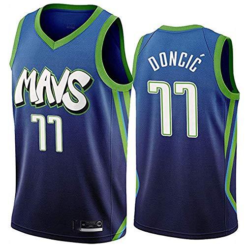 Xmeng NBA Herren Basketball # 77 Luka Doncic Trikot Dallas Mavericks Atmungsaktiv Ärmellos Retro Sport T-Shirts
