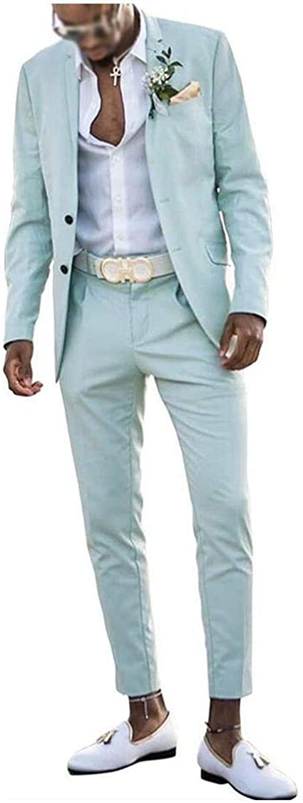Men's Slim Fit Mint Green Summer Wedding Suits 2 PC Two Buttons Prom Suits Men Suits Dinner Suits