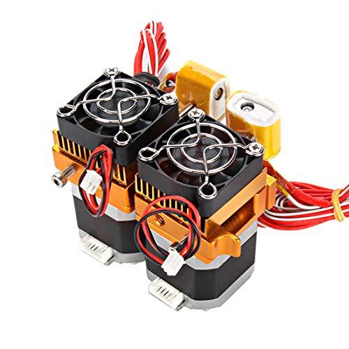 Morton3654Mam Dual Head MK8 Extrusor Kit Double Hotend con boquilla de 0,2 mm, motor y piezas de ventilador para filamento de 1,75 mm de impresora 3D