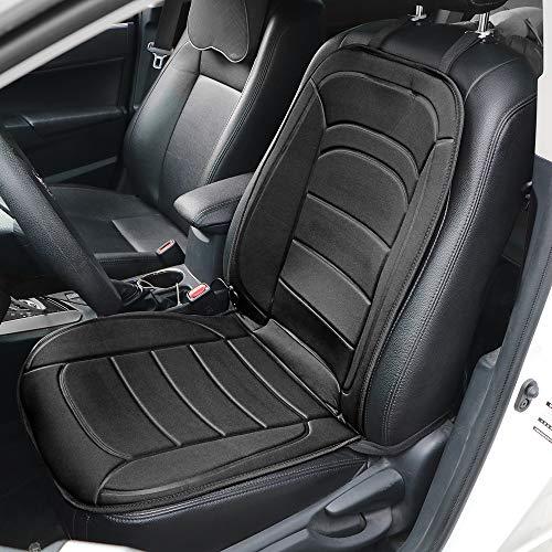 NOPNOG Cojín eléctrico para asiento de coche, potencia para encendedor de cigarrillos, temperatura ajustable, 40 – 65 grados Celsius, CC 12 V, interior (negro)