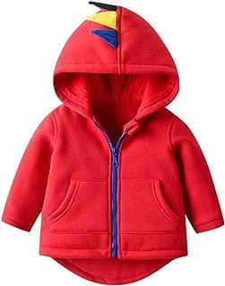 Mousmile Infant Toddler Boys Girls Puffer Jacket Hoodie Cartoon Dinosaur Print Lightweight Coat Outerwear Kids Clothes