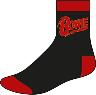 David Bowie, Calcetines Hombre Logo (talla 8-12) Negro