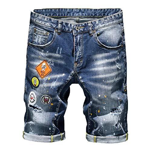 Hombres Blue Denim Shorts Verano Algodón Estiramiento Straight Fit Duración de la Rodilla Pantalones Cortos