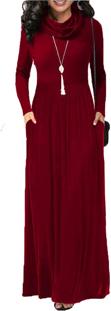 Women's Long Sleeve Casual Maxi Dress Cowl Neck Plain Loose Long Dress with Pockets