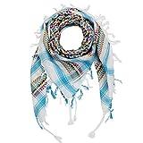Superfreak Palituch multicolor bunt°PLO Schal°100x100 cm°Pali Palästinenser Arafat Tuch°100% Baumwolle° alle Farben und Batik, Weiß/Türkis-bunt, 100x100cm