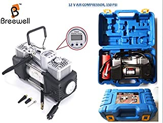 Breewell Digital Display Double Cylinder DC 12V 150 Psi Tire Inflator Air Compressor with PVC Case