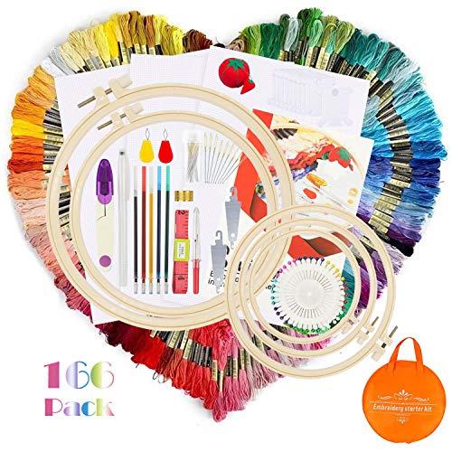 O'woda 166 Piezas Kit de Inicio de Bordado,100 Color Hilos de Bordados kits (8m de largo),...