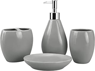 4-Piece Ceramic Bathroom Accessory Set, Bathroom Accessories Set Includes Soap Dispenser, Toothbrush Holder, Tumbler, Soap Dish, Complete Bathroom Ensemble Sets for Bath Decor, Ideas Home Gift (Gray)