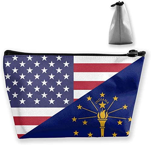 Flag of USA and Indiana State Make Up Bag Toiletry Bag Travel Cosmetic Bags Pouch