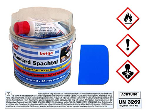 STC 2K kfz Spachtelmasse 250 g Auto Standard Spachtel beige Karosserie Polyester Füllspachtel Dose inkl. Härter + Spachtelblatt ca. 55 x 40 mm (250 g Dose)