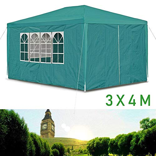 Hedii Newest Marquee Gazebo Tent Green 3x4M(12 Square Meter), 120g Waterproof PE Cover (4 sidewalls), Upgrade Thicken Tubes, Connectors, Ropes