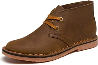 KUANGMENG Men's Boots, Shoes, Leather, Lace, Slip, Casual, Waterproof, British Fashion, Chuka Athletic & Outdoor Shoes (Color : Khaki, Size : 6.5 UK)