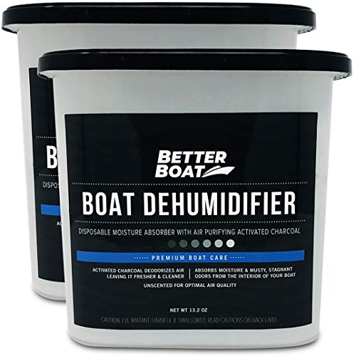 2 Pack Boat Dehumidifier Moisture Absorber and Charcoal Smell Remove Damp Musty Smell | Basement Closet Home RV or Boating