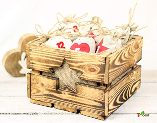 Rustikale ADVENTSKISTE Vintage Holzkiste für Adventsgeschenke Tischdeko WEIHNACHTEN ADVENTSKALENDER aus HOLZ Geschenkekiste Geschenk Stern