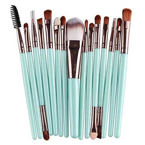 Professionnel Set de pinceau de maquillage 15 pcs Œil Poudre Liquide Crème Poils de fibre Brosses cosmétiques Doux (Color : 4, Size : Onesize)