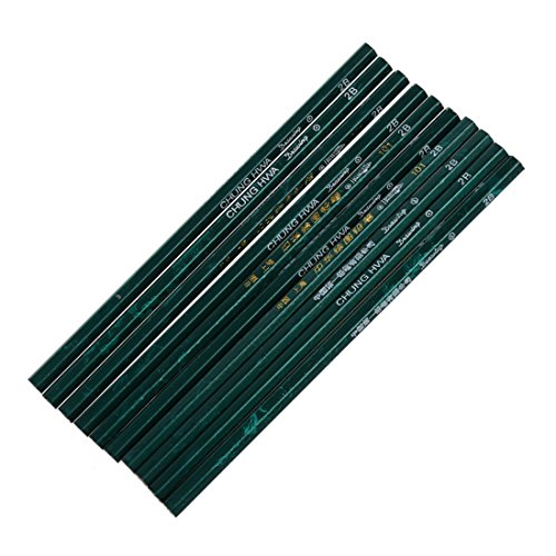 SODIAL(R) 10x 2B lapiz hexagonal de dureza para la escuela Oficina Verde