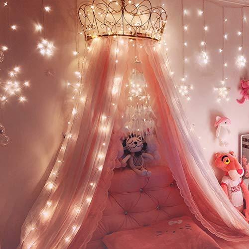 ZGGLORY Canopy de la Princesa de la Corona del cordón niño,Dosel de la Cama del mosquitero de Las Muchachas con Las Estrellas Brillantes/Dosel de la Cama de la Corona-A