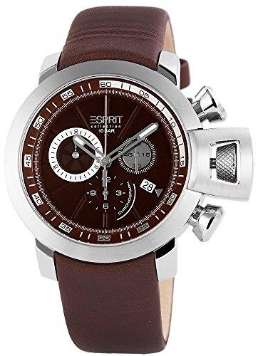 Esprit Cronógrafo Reloj de Hombre, Piel auténtica, diámetro 45mm Marrón–el101831F03