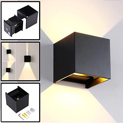 12W Wandleuchte Innen/Außen Modern, Led Außenleuchten IP65 LED Wandbeleuchtung Up- und Downlight, Mit Einstellbar Abstrahlwinkel Design, 3000K Warmweiß Schwarz