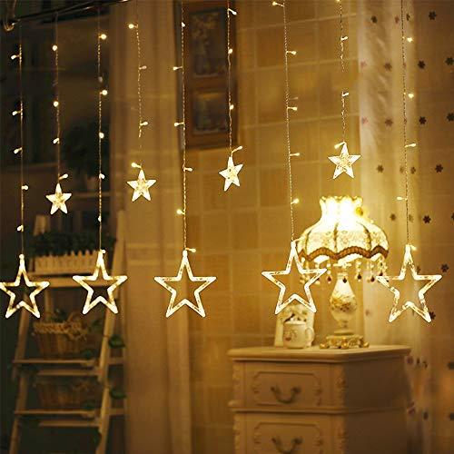 12 stelle a LED, 138 luci a LED per tenda con 8 modalità di lampeggiamento, decorazione per Natale, matrimonio, festa, patio, giardino, decorazione per la casa (bianco caldo)