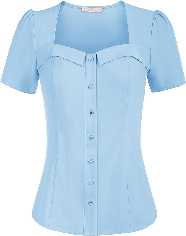 Belle Poque Women's Vintage Square Neck Short Sleeve Button Elegant Top Blouse