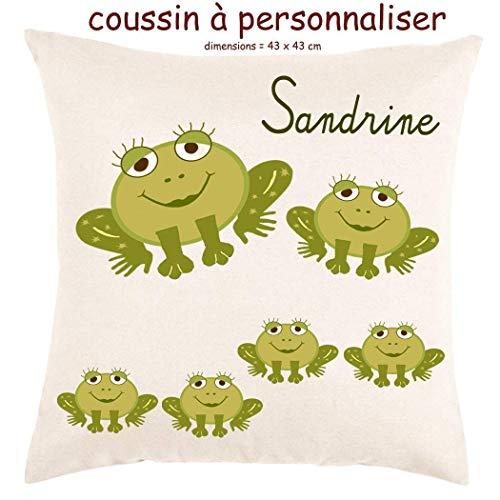 Coussin avec sa Housse Toucher très Doux Grenouille Personnalisable avec un Prénom Exemple Sandrine