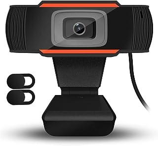 QueenDer Webcam HD 720P con 2Pcs Cámara Web Cover y Micrófono, USB Webcam con Corrección Automática de la Luz Mini Plug Play para Videollamadas, Estudios, Conferencias, Skype, Ordenador, PC