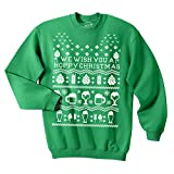 Crazy Dog T-Shirts Unisex Hoppy Christmas Sweatshirt Beer Ugly Sweater Sarcastic Cool Party Gift (Green) - XXL