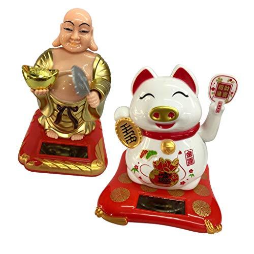 Prettyia Dancing Car Solar Power Buddha& Pig Bobble Head Plastic Toy