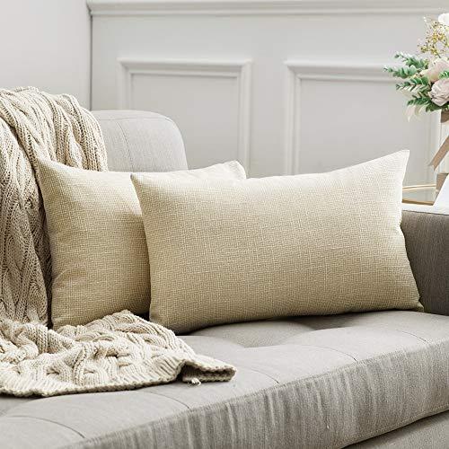 MIULEE 2er Pack Leinenoptik Home Dekorative Kissenbezug Kissenhülle Kissenbezug für Sofa Schlafzimmer mit Reißverschlüsse 30x50 cm Milchweiß