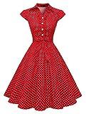 Wedtrend Vestido Vintage Escote V 1950s Cóctel Rockabilly Mujer Vestido Fiesta WTP10007RedWhiteDotXS