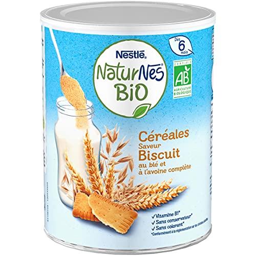 NESTLE Bébé - Naturnes BIO - Céréales Biscuité au blé et à l'avoine complète - Dès 6 mois - Boîte 240g