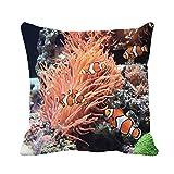 N\A Funda de Almohada de Tiro Naranja anémona de mar y pez Payaso en Acuario Marino Funda de Almohada Decorativa para el hogar Funda de Almohada Cuadrada Funda de cojín