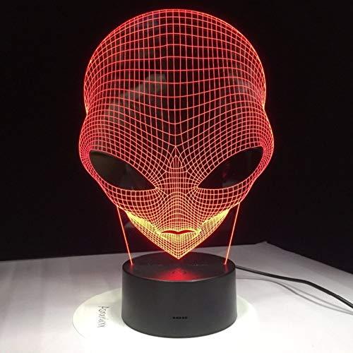 3D nachtlampje 7 kleuren veranderen hologram Ill Ion pop-eyed Alien vorm lamp acryl nachtlampje met aanraakschakelaar