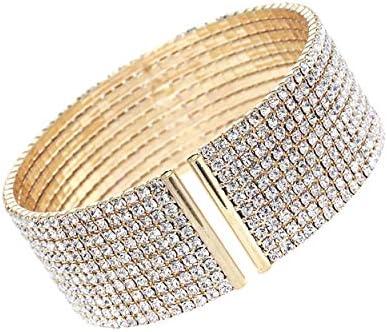 Arsimus 10 Row Clear Crystal Rhinestone Cuff Bracelet Gold product image