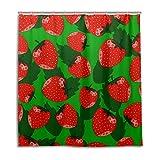 jstel Decor Duschvorhang rot Erdbeeren mit Blatt Muster Print 100prozent Polyester Stoff 167,6x 182,9cm für Home Badezimmer Deko Dusche Bad Gardinen mit Kunststoff Haken